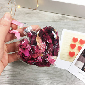 Baby First Valentine's Day Rose Petal Bauble Decoration