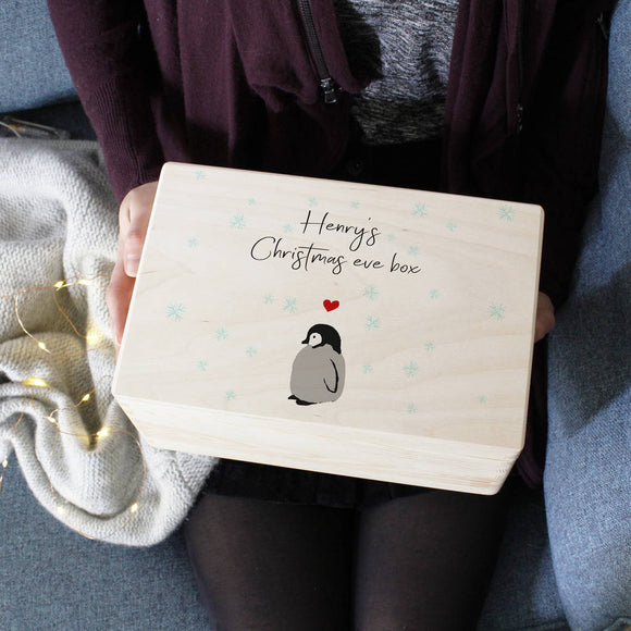 Penguin Christmas Eve Personalised Wooden Keepsake Box - Olivia Morgan Ltd
