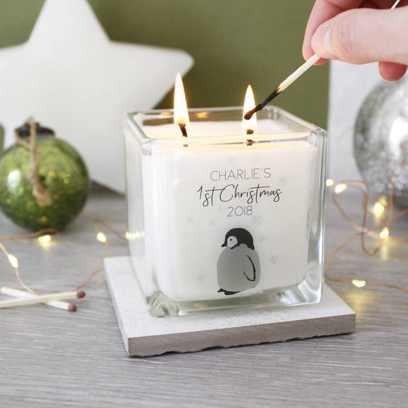 Baby Penguin First Christmas Scented Square Candle - Olivia Morgan Ltd