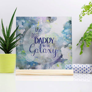 Best Dad In The Galaxy Standing Photo Glass Print - Olivia Morgan Ltd