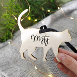 Cat Personalised Wooden Christmas Hanging Decoration - Olivia Morgan Ltd