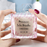 Patterned Christening Personalised Square Scented Candle - Olivia Morgan Ltd