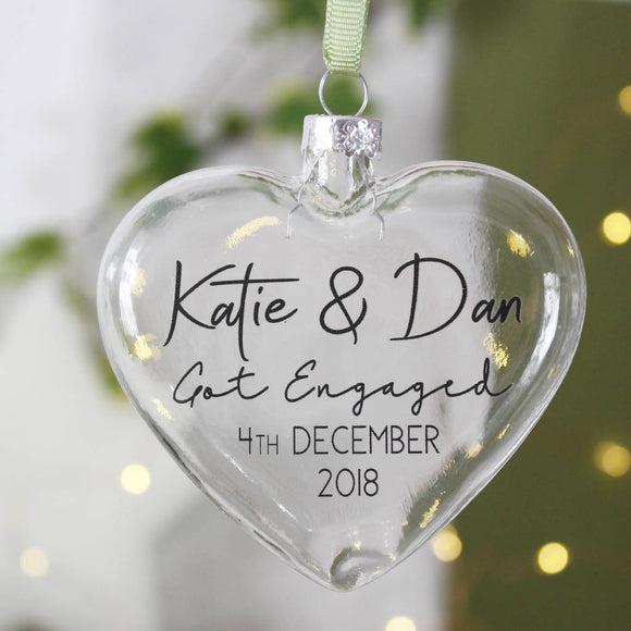 Engagement Glass Heart Bauble Decoration - Olivia Morgan Ltd