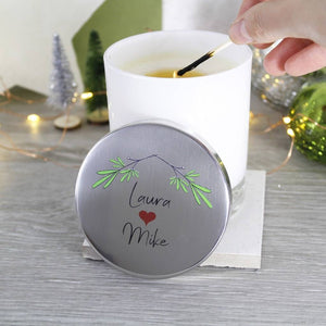 Couple Mistletoe Christmas Scented Candle With Lid - Olivia Morgan Ltd