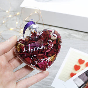 Couples Glass Heart Rose Decoration