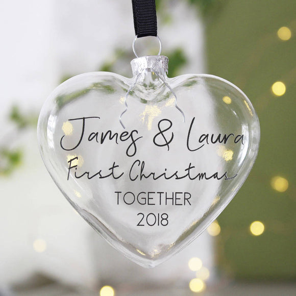 Typography Couples Heart Christmas Bauble - Olivia Morgan Ltd