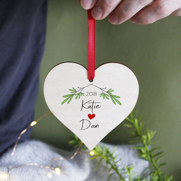 Couples Personalised Christmas Wooden Heart Decoration - Olivia Morgan Ltd