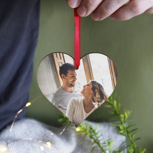 Couples Photo Wooden Heart Personalised Christmas Decoration - Olivia Morgan Ltd