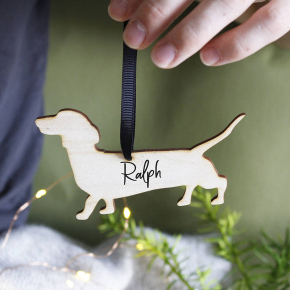 Dog Personalised Wooden Christmas Hanging Decoration - Olivia Morgan Ltd