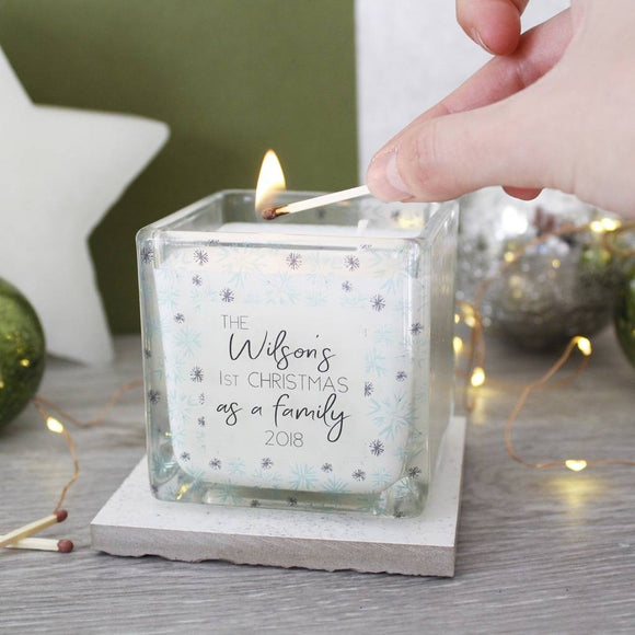 First Christmas As A Family Snowflake Scented Candle - Olivia Morgan Ltd