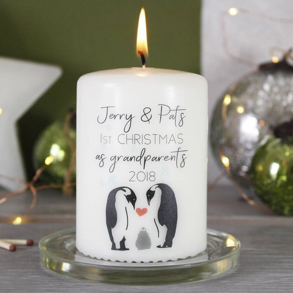 First Christmas As Grandparents Penguin Candle - Olivia Morgan Ltd