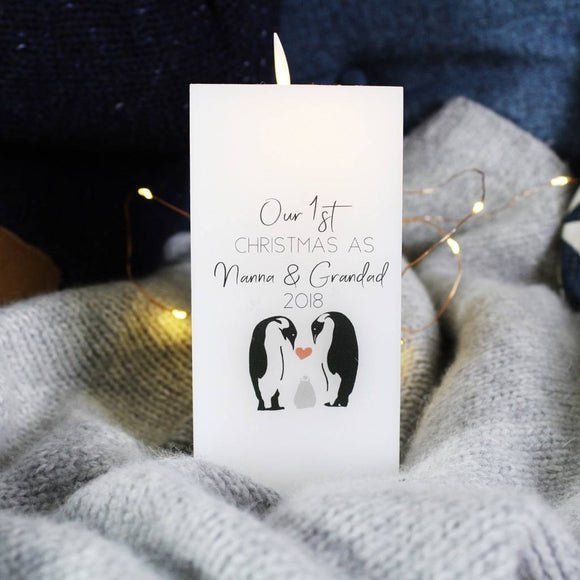 First Christmas As Grandparents Penguin LED Wax Candle - Olivia Morgan Ltd