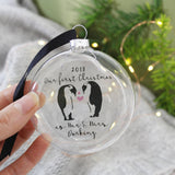 First Christmas As Mr And Mrs Penguin Bauble Keepsake - Olivia Morgan Ltd