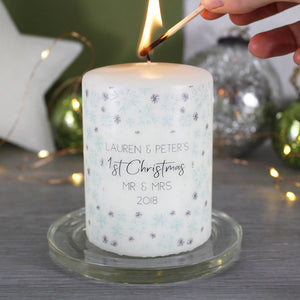 First Christmas As Mr And Mrs Snowflake Candle - Olivia Morgan Ltd