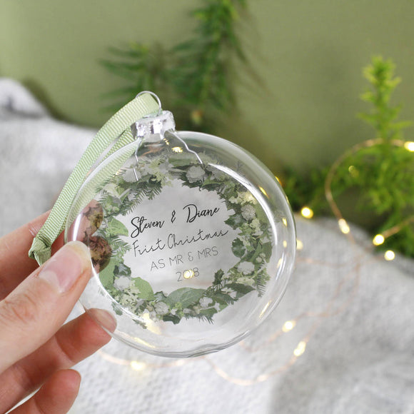 First Christmas As Mr And Mrs Wreath Flat Bauble - Olivia Morgan Ltd