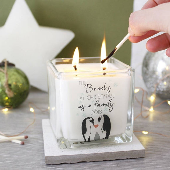 First Family Christmas Penguin Scented Square Candle - Olivia Morgan Ltd