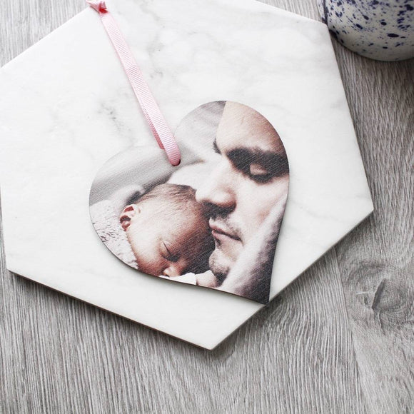 First Father's Day Photo Heart Decoration - Olivia Morgan Ltd