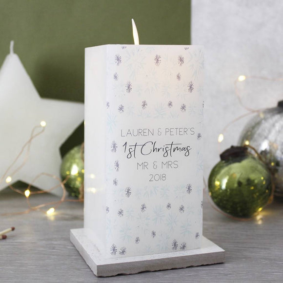 First Married Christmas LED Wax Snowflake Candle - Olivia Morgan Ltd