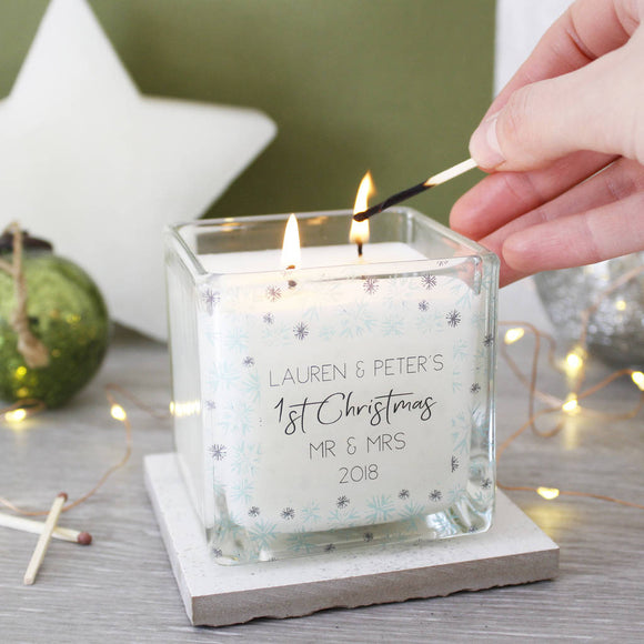 First Married Christmas Snowflake Scented Candle - Olivia Morgan Ltd