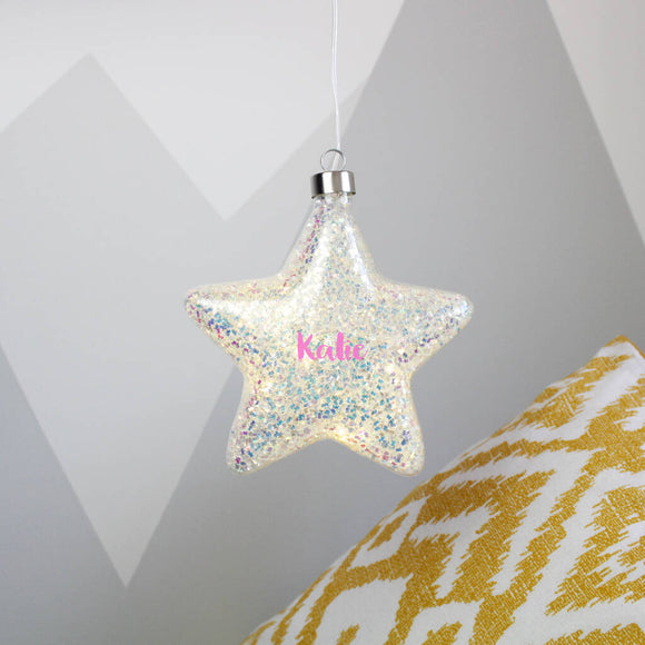 Glitter LED Star Hanging Decoration Light - Olivia Morgan Ltd