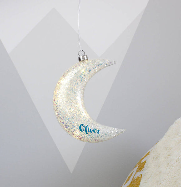 Glitter Personalised LED Hanging Moon Light - Olivia Morgan Ltd