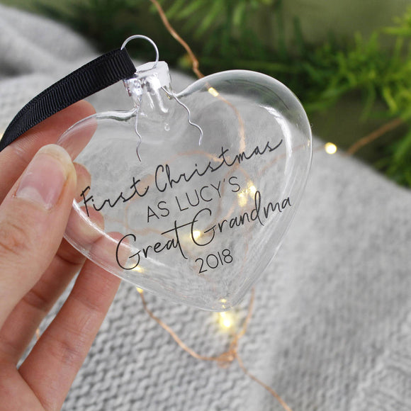 Grandparent First Christmas Glass Heart Bauble - Olivia Morgan Ltd