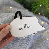 Hedgehog Personalised Wooden Christmas Hanging Decoration - Olivia Morgan Ltd