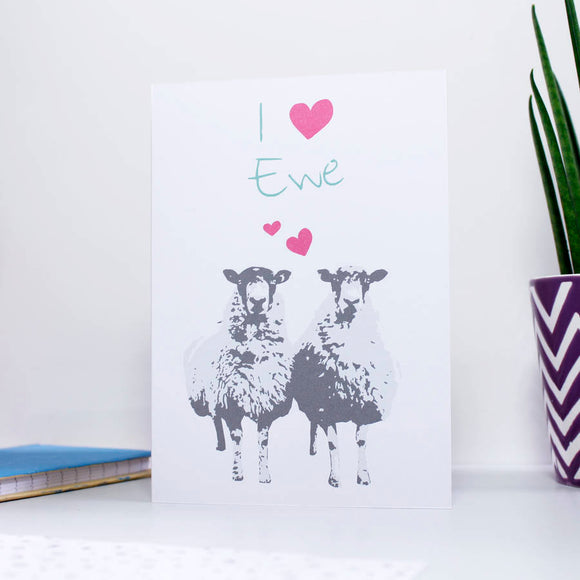 'I Love You / Ewe' Sheep Valentine's Day Card - Olivia Morgan Ltd