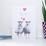 I love you (heart shape) Ewe card, with two sheep below the text and two little love hearts between the two sheep. A great anniversary card for sheep lovers and farmers alike.