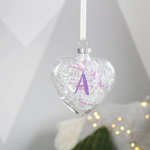 Initial Filled Glass Christmas Bauble - Olivia Morgan Ltd
