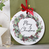 Merry Christmas Ceramic Door Wreath Decoration - Olivia Morgan Ltd