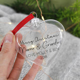 Merry Christmas Grandparents Heart Christmas Bauble - Olivia Morgan Ltd