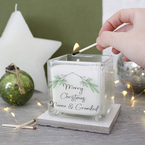 Merry Christmas Mistletoe Candle For Grandparents - Olivia Morgan Ltd