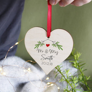 Mr And Mrs Christmas Heart Wooden Hanging Decoration - Olivia Morgan Ltd