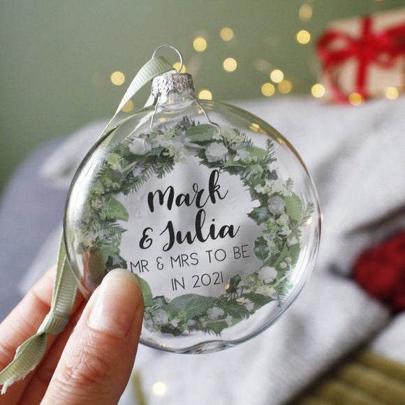 Mr And Mrs To Be Wreath Glass Christmas Bauble