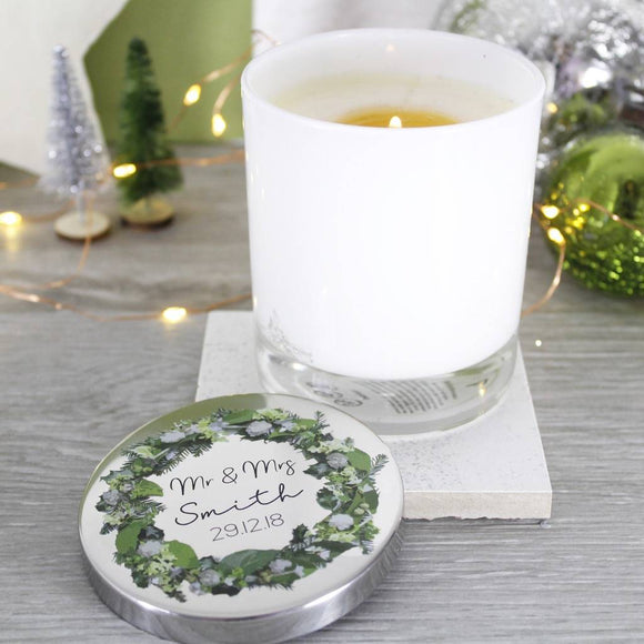 Mr And Mrs Wedding Wreath Scented Candle With Lid - Olivia Morgan Ltd