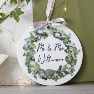 Mr And Mrs Ceramic Door Wreath Christmas Decoration - Olivia Morgan Ltd
