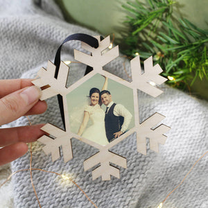Mr And Mrs Photograph Christmas Hanging Decoration - Olivia Morgan Ltd