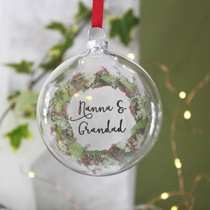 Nanna And Grandad Wreath Christmas Bauble - Olivia Morgan Ltd