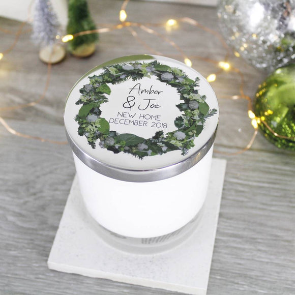 New Home Wreath Scented Christmas Candle With Lid - Olivia Morgan Ltd