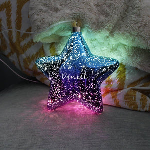 Ombre Purple And Blue LED Personalised Hanging Star Light Decoration - Olivia Morgan Ltd