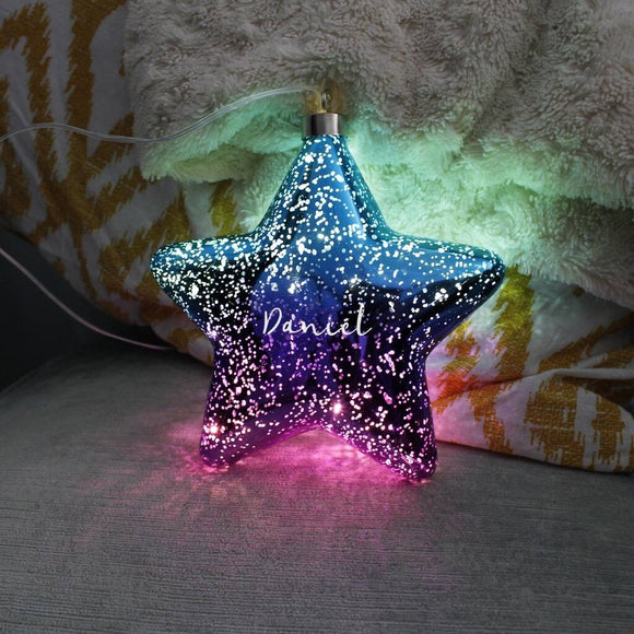 Ombre Purple And Blue LED Personalised Hanging Star Light Decoration