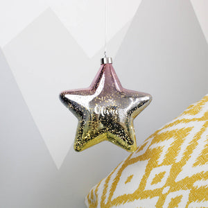 Ombre Yellow and Pink LED Personalised Hanging Star Light Decoration - Olivia Morgan Ltd