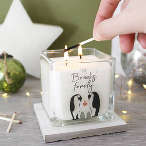 Penguin Family Christmas Scented Square Candle - Olivia Morgan Ltd