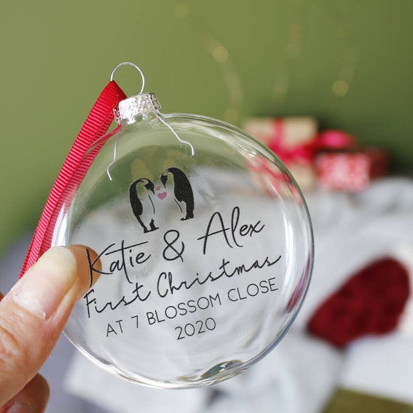 Penguin New Home Christmas Bauble