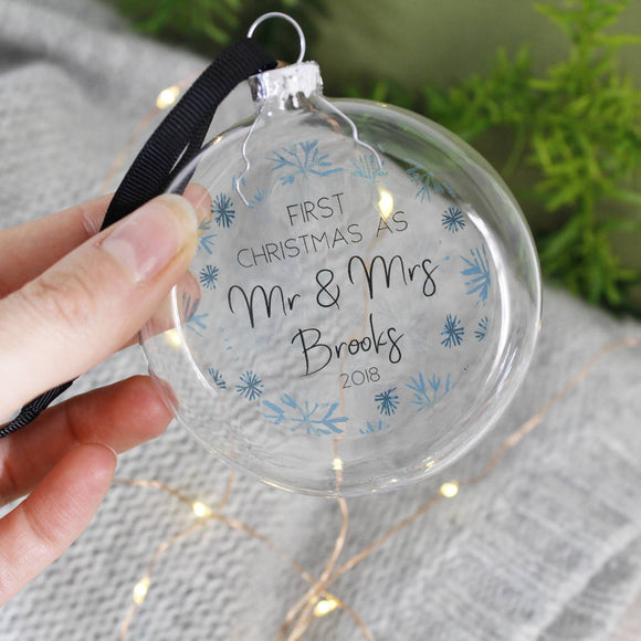 First Christmas As Mr And Mrs Flat Bauble - Olivia Morgan Ltd