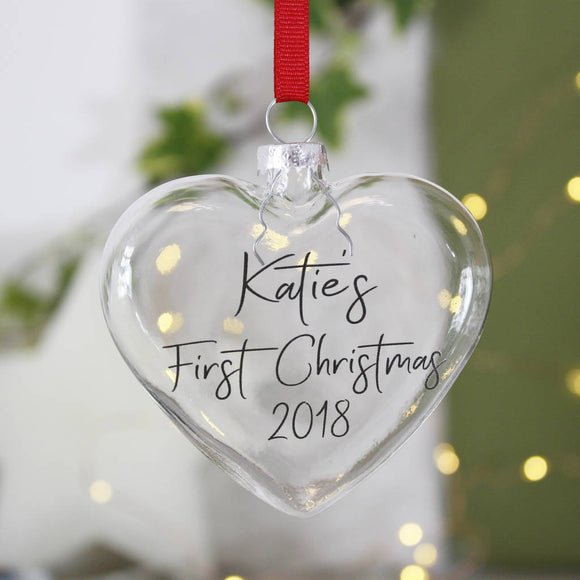 First Christmas Heart Bauble - Olivia Morgan Ltd