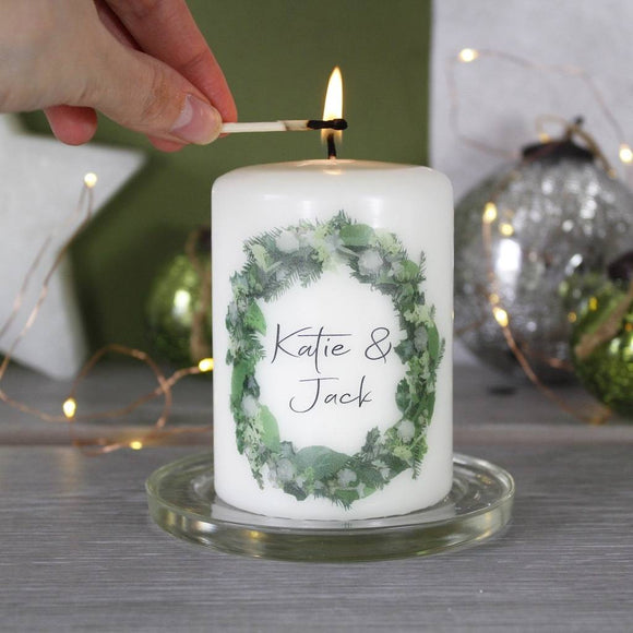 Wreath Personalised Christmas Candle For Couples - Olivia Morgan Ltd