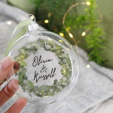 Wreath Personalised Christmas Bauble For Couples - Olivia Morgan Ltd
