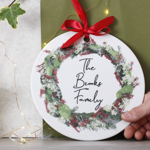 Personalised Family Ceramic Christmas Door Wreath - Olivia Morgan Ltd